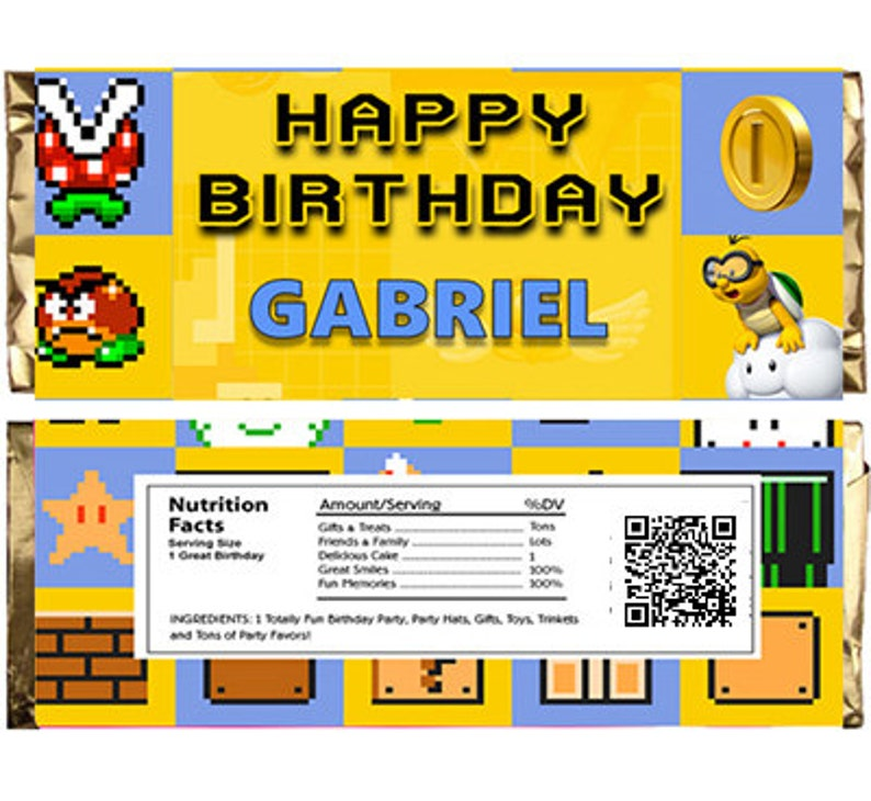 Super Mario Maker Themed Chocolate Bar Wrappers  Download Customize Print  Super Mario Maker Chocolate Bar Wrappers Fits 1 5 oz 43g Bars