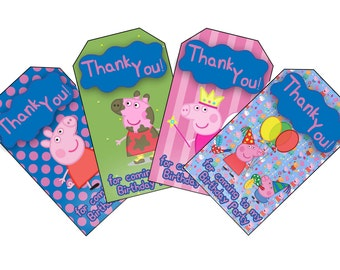 Peppa Pig Themed Birthday Favor Tags. Download and Print Peppa Pig Birthday Party Favor Tags. Thank You! For coming to my birthday party.