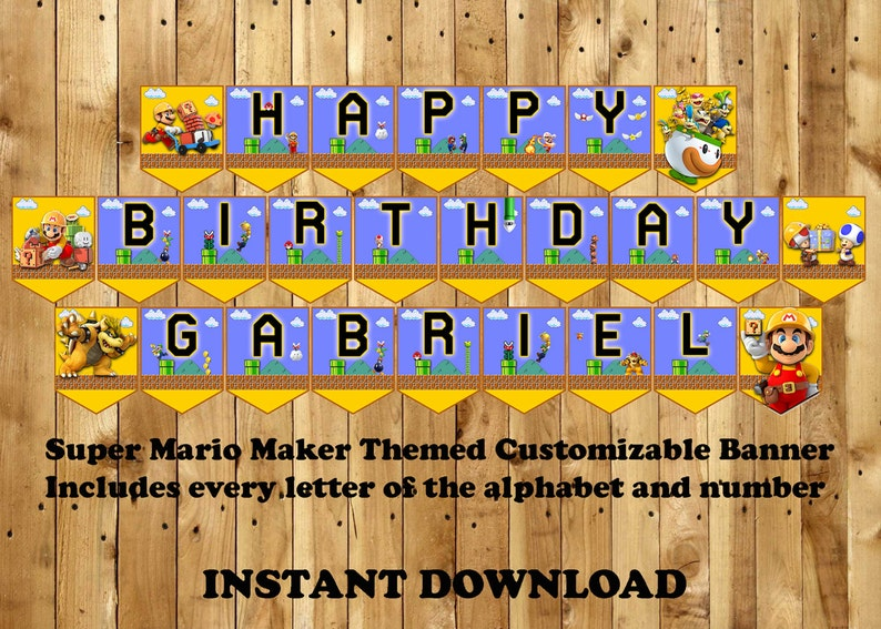 Super Mario Maker Themed Customizable Birthday Banner – Instant Download  Includes every letter and number Mario Maker bunting printable