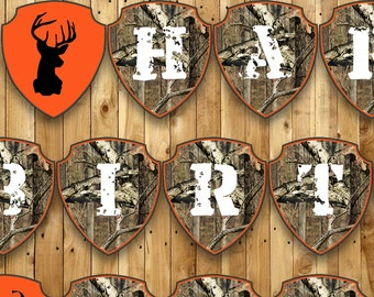 Hunting Customizable Birthday Banner - Instant Download Hunting Banner includes letters (A-Z), numbers (0-9) and 6 Ends