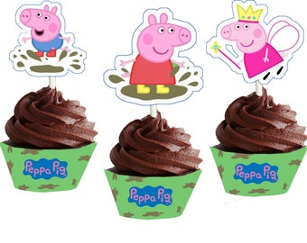 Peppa Pig Muddy Puddles Themed Cupcake Wrappers and Toppers Instant Download Peppa Pig Cupcake Wrappers and Toppers Birthday Party printable
