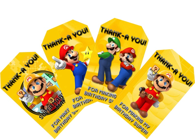Super Mario Maker Themed Birthday Favor Tags  Instant Download Birthday  Party Favor Tags  Thank-A You! For making my birthday super!