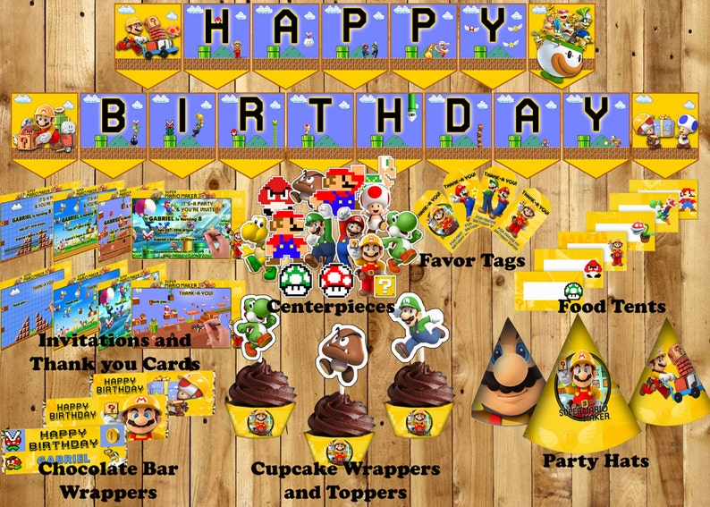 Super Mario Maker Themed Birthday Party Kit - INSTANT DOWNLOAD