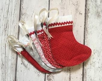 Handmade Fabric Mini Christmas Stockings set of 6