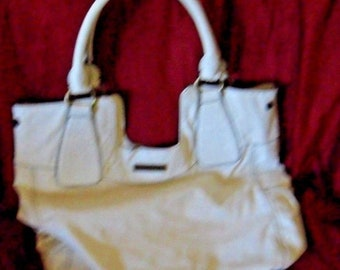 Jessica Simpson white purse handbag large  has two minor small scratches see photos
