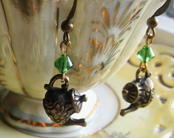 BRONZE TEAPOT EARRINGS Dangle GreenTea Earrings,Spota Tea? Tea Time Jewelry,Tea Earrings,StuffedLinens,Tea Pot Earrings,Tea Lovers,Tea Party