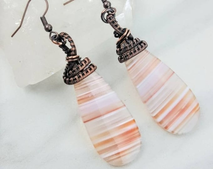Striped Agate Copper Wire Wrapped Earrings
