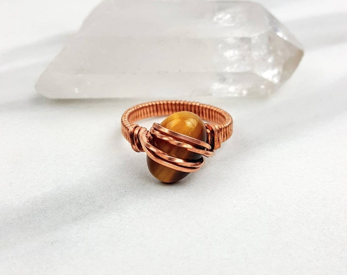 Tiger's Eye Crystal Stone Copper Wire Wrapped Ring