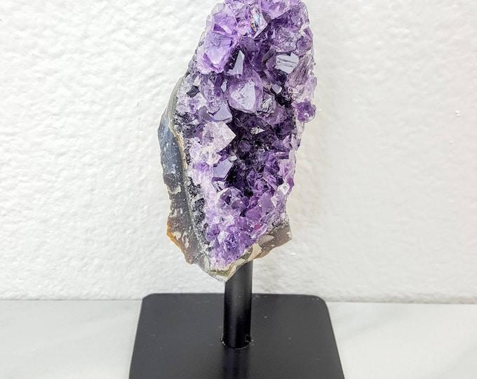 Amethyst Cluster Holistic Healing Raw Crystal Stone on a Black Stand Altar Shrine
