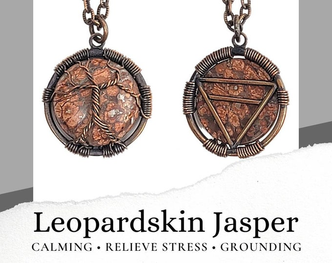 Leopardskin Jasper Necklace with Tree of Life and Earth Element