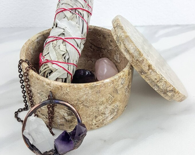 Fossil Coral Crystal Stone Jewelry Trinket Accesory Round Circle Box Men Women