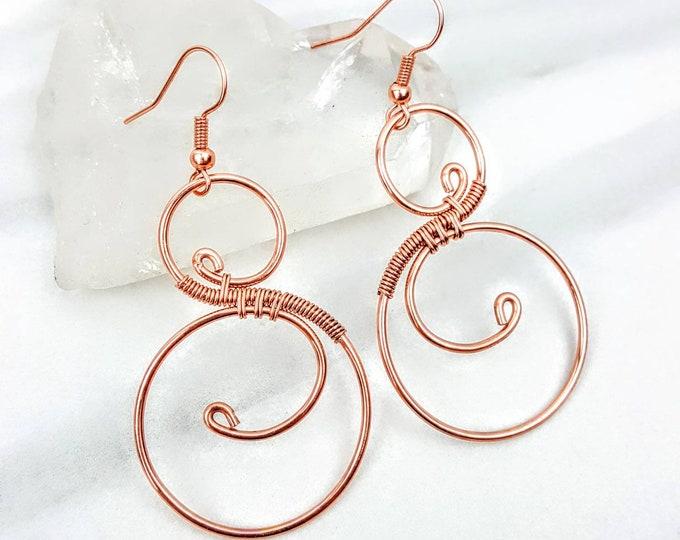 Copper Infinity Swirl Dangle Hoop Wire Wrapped Earrings