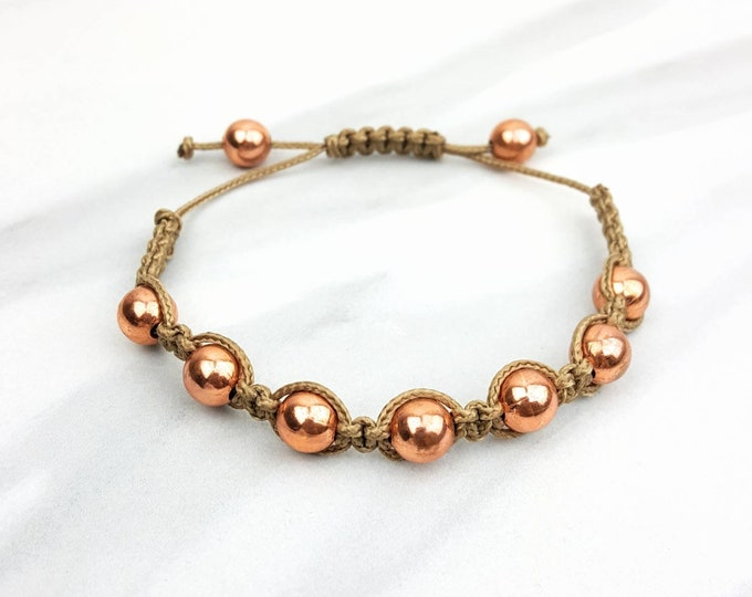 Copper Tan Macrame Bracelet