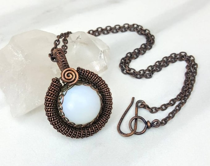 Opalite Copper Wire Wrapped Necklace