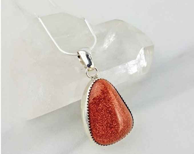 Protection, Negativity, Abundance  • Goldstone Handmade Sterling Silver Healing Crystal Stone Necklace Sparkle Orange Brown Women Gift