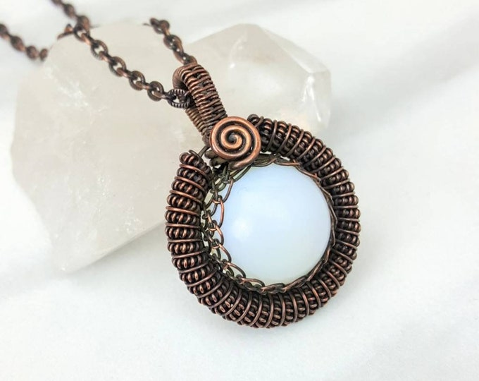 Anxiety, Mood Swings, Communication, Business Success, Meditation • Opalite Healing Crystal Stone Copper Necklace Unisex Men Women Gift