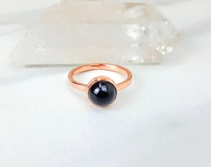 Protective, Negativity, Fear, Worry • Black Onyx Copper Healing Crystal Stone Cabachon Ring Unisex Men Women Gift