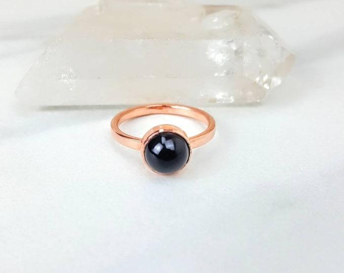 Black Onyx Copper Ring