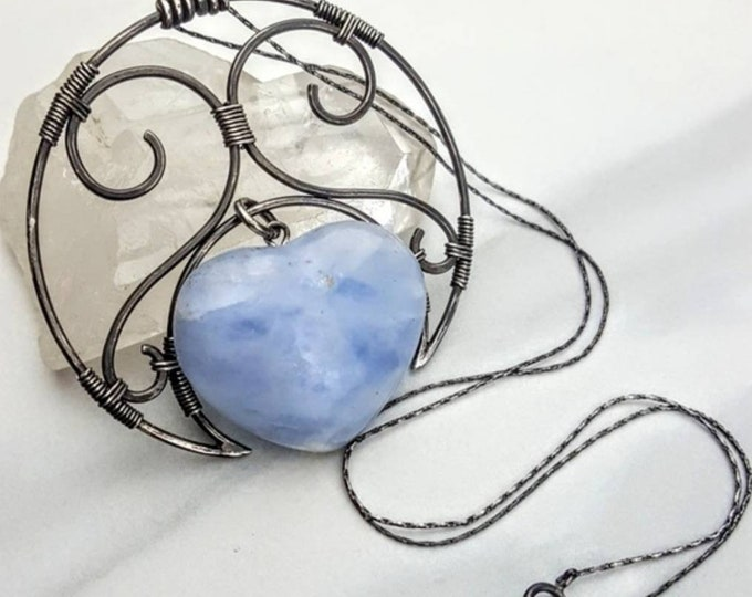 Blue Calcite Sterling Silver .925 Heart  Crystal Stone Wire Wrapped Necklace