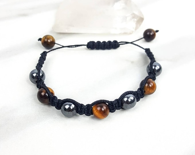 Hematite and Tiger's Eye Black Macrame Bracelet