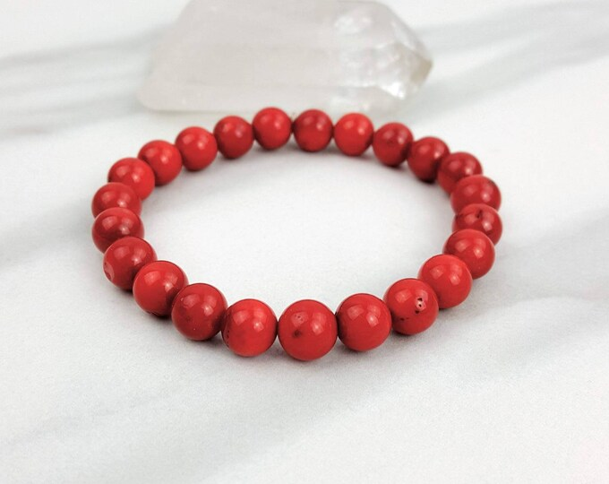 Coral Holistic Healing Crystal Stone Bead Stretchy Handmade Bracelet Jewelry Men Women
