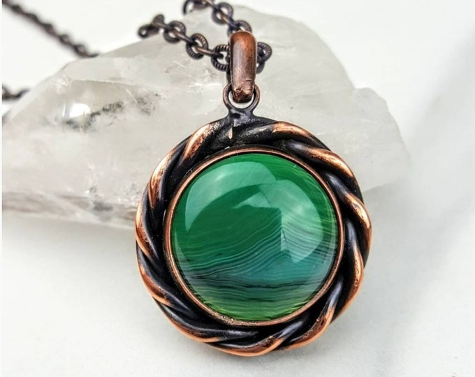 Calming, Soothing, Calming • Green Striped Agate Circle Round Healing Crystal Stone Copper Wire Wrapped Handmade Necklace Jewelry Women Men