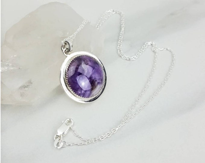 Protective, Spiritual, Calms Mind, Anxiety, Negativity • Amethyst Sterling Silver Crystal Stone Purple Cabachon Women Necklace Gift