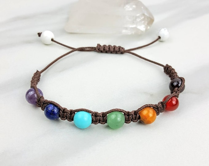 Chakra Balancing Brown Macrame Bracelet