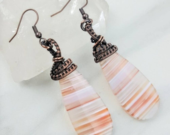 Calming, Love, Grounding • Striped Agate Orange White Pink Healing Crystal Stone Drop Dangle Chandelier Earrings Women Copper Wire Wrapped