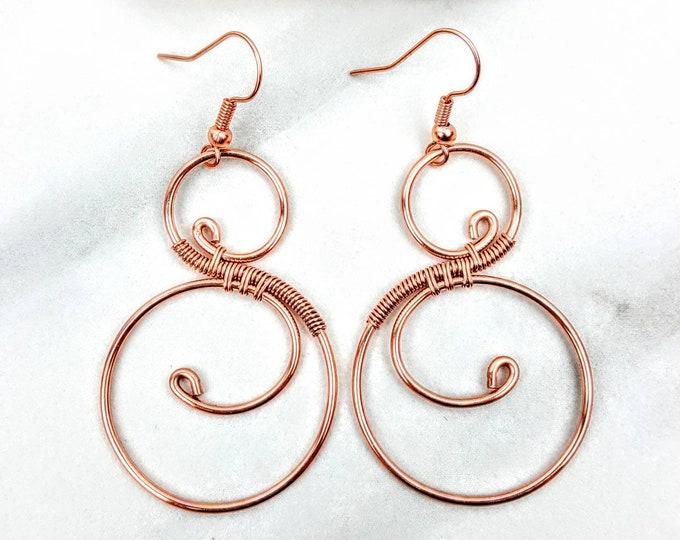 Copper Infinity Swirly Wire Wrapped Earrings
