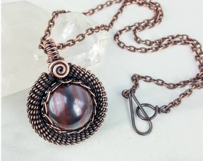 Tiger Iron Copper Wire Wrapped Crystal Stone Necklace