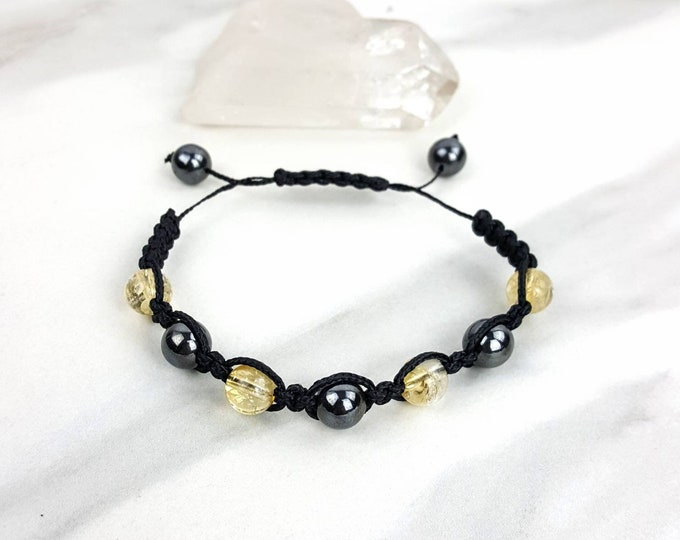 Hematite and Citrine Black Macrame Bracelet