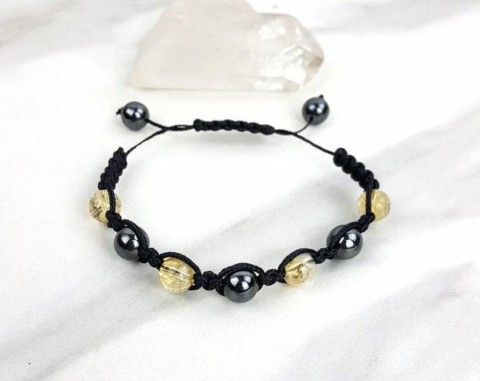 Hematite and Citrine Black Macrame Bracelet
