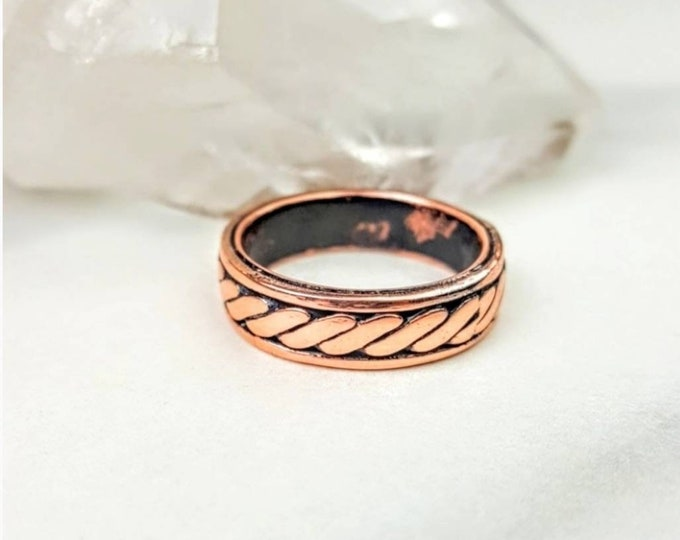 Copper Men's Rustic Braided Rope Wedding Ring Band