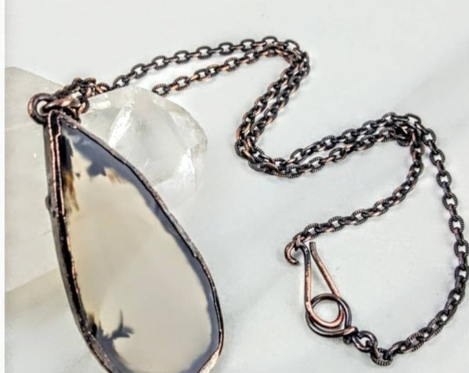 Agate Copper Electroformed Clear Slice Crystal Stone Necklace