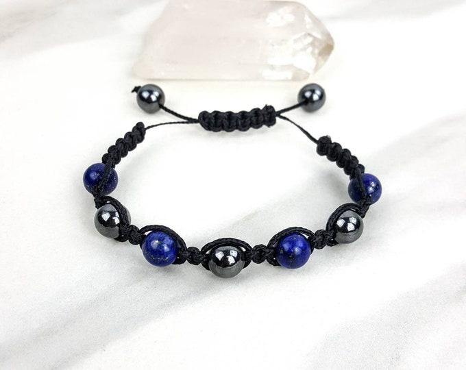 Hematite and Lapis Lazuli Black Macrame Bracelet