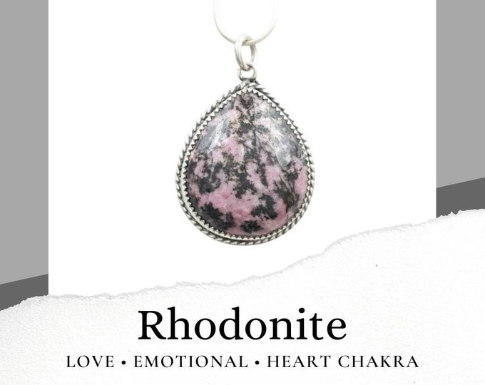 Rhodonite Sterling Silver .925 Necklace