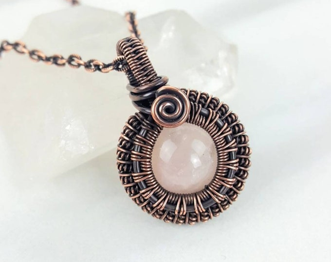 Love, Peace, Calming • Rose Quartz Copper Wire Patina Wrapped Healing Crystal Stone Pink Handmade Necklace Unisex Men Women Gift