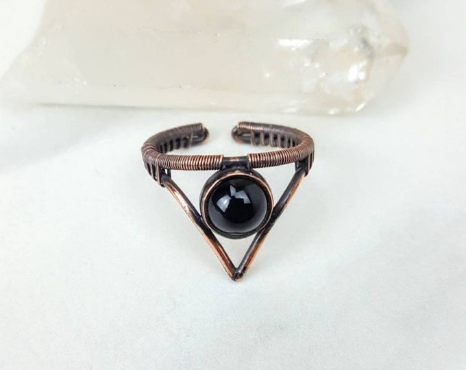 Black Onyx Copper Wire Wrapped Ring