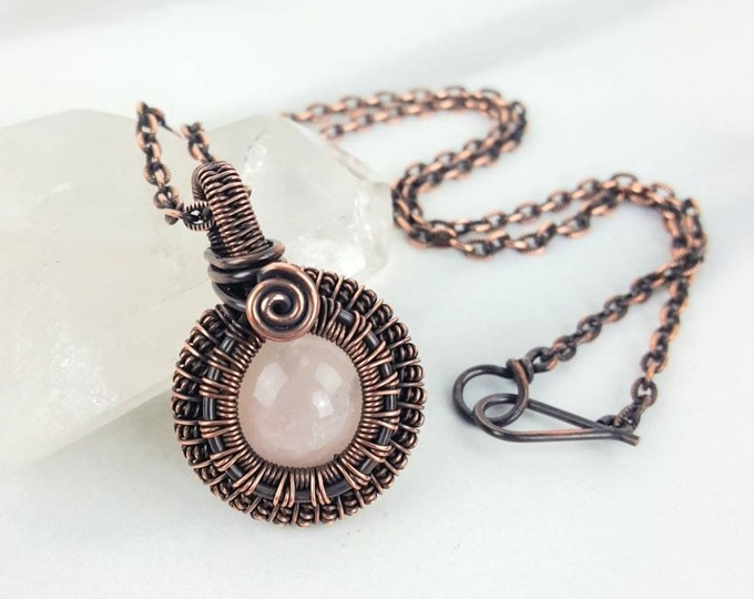 Rose Quartz Pink Crystal Stone Copper Wire Wrapped Necklace