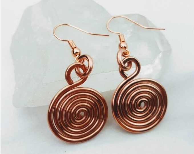 Copper Swirly Circle Round Earrings