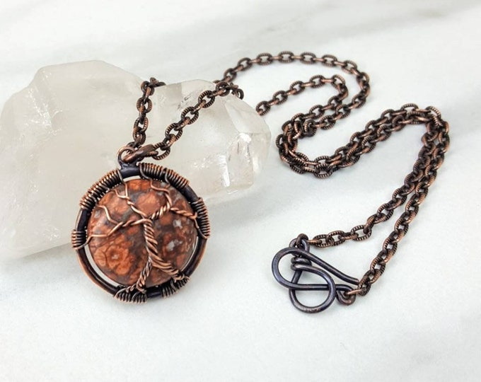 Leopardskin Jasper Tree of Life Copper Wire Wrapped Necklace