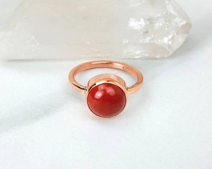 Worry, Calming, Health, Aura, Drea Recall • Red Jasper Cabachon Copper Healing Crystal Stone Ring Unisex Men Women Jewelry Gift