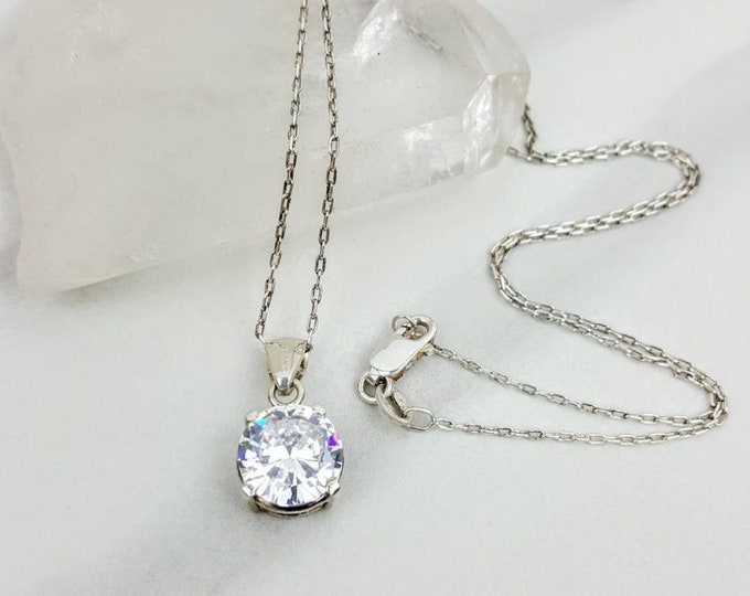 Sterling Silver .925 Crystal Glass Diamond Women Necklace Jewelry