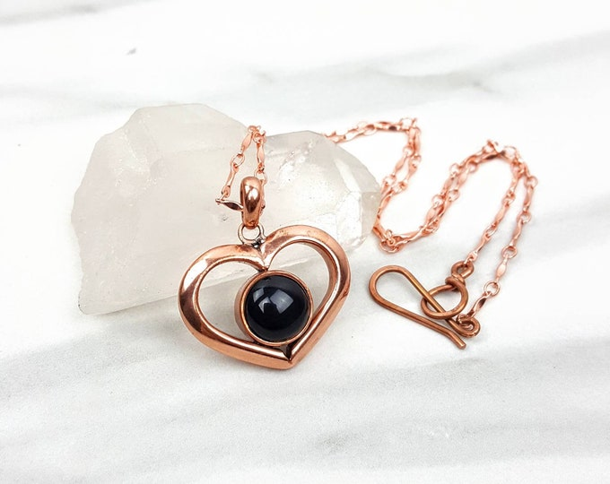 Black Onyx Holistic Healing Crystal Stone Copper Heart Handmade Necklace