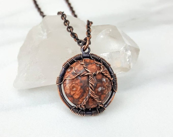 Stress, Tranquility, Calming, Nature, Grounding • Leopardskin Jasper Healing Crystal Stone Tree of Life Copper Necklace Unisex Men Women