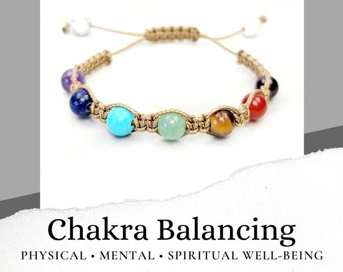 Chakra Balancing Tan Macrame Bracelet