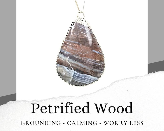 Petrified Wood Sterling Silver .925 Necklace
