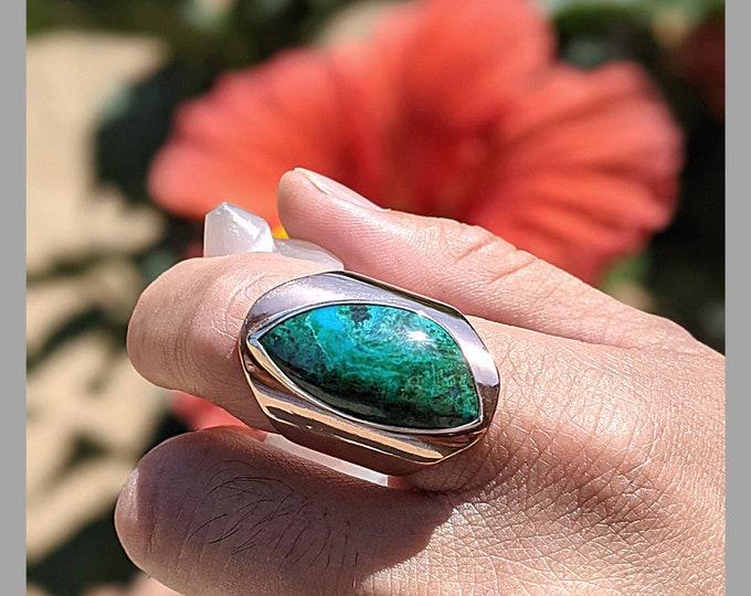 Azurite Malachite Crystal Stone Blue Green Sterling Silver Copper Statement Ring Men Women Jewelry
