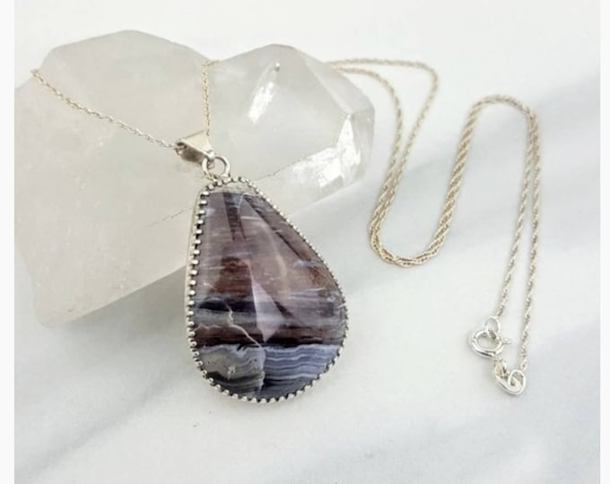 Petrified Wood Sterling Silver .925 Brown Crystal Stone Necklace